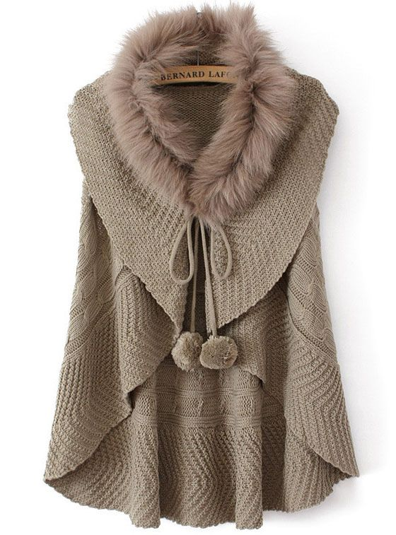 Coffee Faux Fur Collar Knit Vest Cardigan US$34.26