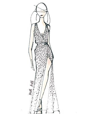 LeAnn Rimes's wedding dress sketch.  Courtesy Reem Acra