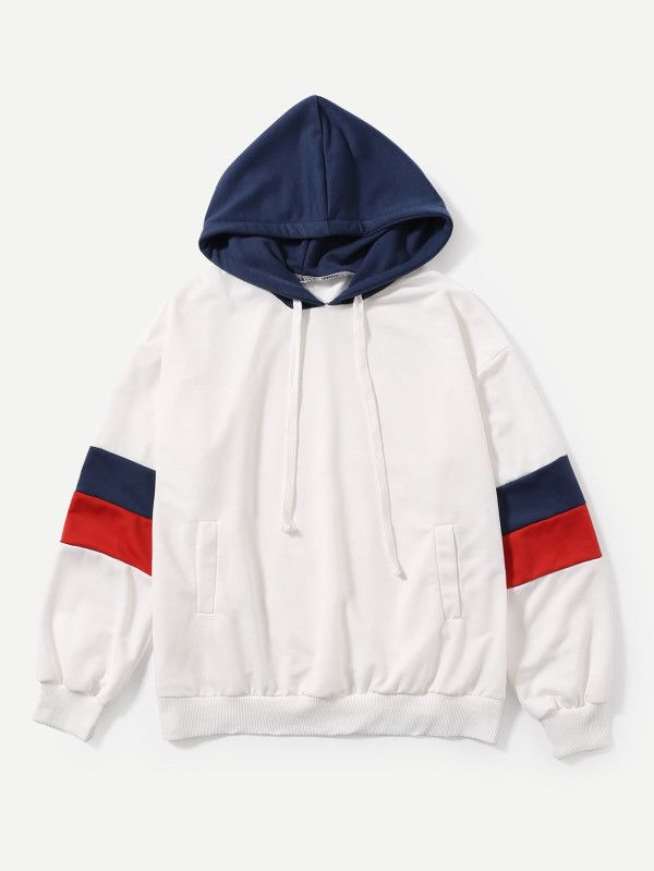 Stripe Contrast Sleeve Hoodie -SheIn(Sheinside) white blue red pullover  hoodie. 0e2045f38a