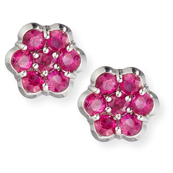 Bayco Platinum & Ruby Floral Stud Earrings (1149635 RSD) ❤ liked on Polyvore featuring jewelry, earrings, stud earrings, post earrings, round earrings, earring jewelry and platinum earrings