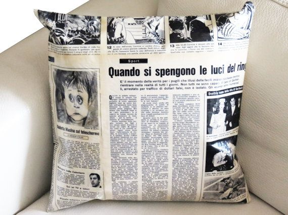 Recycled Vintage Magazine Pillow Case  Black by CeeBeeRecycle