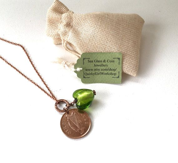 1985 irish coin pendant, green Venetian glass heart jewellery. A long copper tone chain with a Venetian green glass heart charm and an Irish two penny piece. The chain is 24 inches or 60cms long and has a lobster clasp. 1985 necklace a great 31th birthday or anniversary gift.  This necklace comes in a mini jute gift sack The coins that I use are genuine circulated coins and may have marks or signs of wear If you like this necklace but would like a different date coin or if you would like…