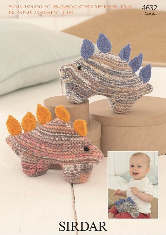 Sirdar 4632 Knitted Dinosaur Toy. Uses double knitting #3 weight yarn.