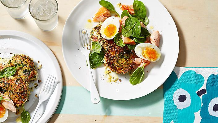 Hot smoked salmon and soft-boiled eggs on quinoa patties