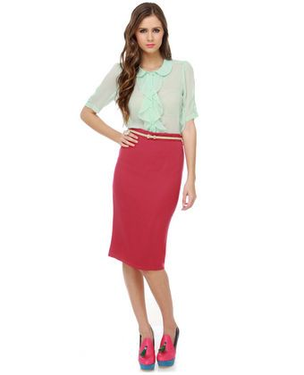 Shop Our Shoots: sporty skirts - LuLu's, Elle Woods Pink Pencil Skirt, $30