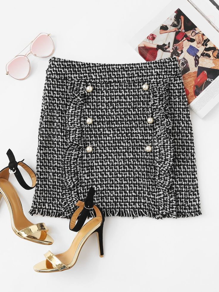 Shop Pearl Button Detail Ruffle Trim Tweed Skirt online. SheIn offers Pearl Button Detail Ruffle Trim Tweed Skirt & more to fit your fashionable needs.