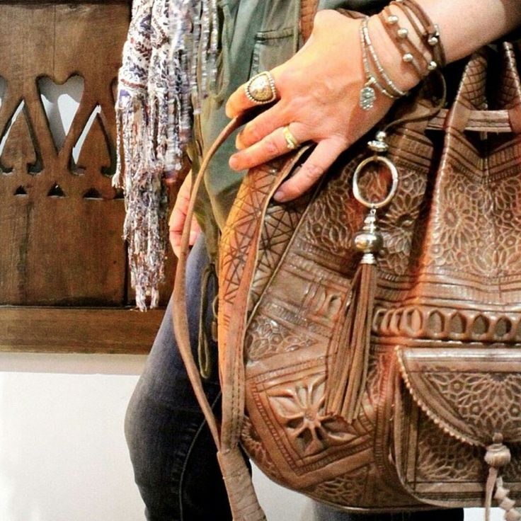 Moroccan leather stamped tote bag