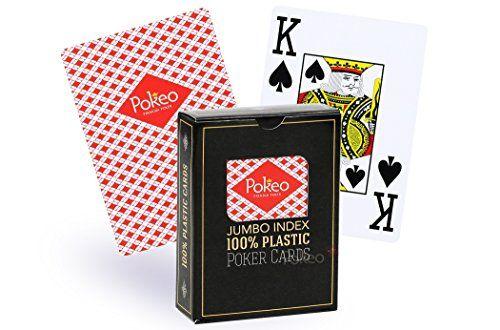 Cartes de poker 100% plastique (rouge) – SOLDES !: Jeu de 54 cartes de poker 100% plastique au format Poker Jumbo, dos rouge. Une création…