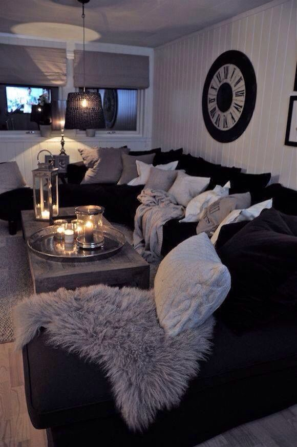 This Is Perfect Only In Red And Black How To Decorate Living Room White Interior Design