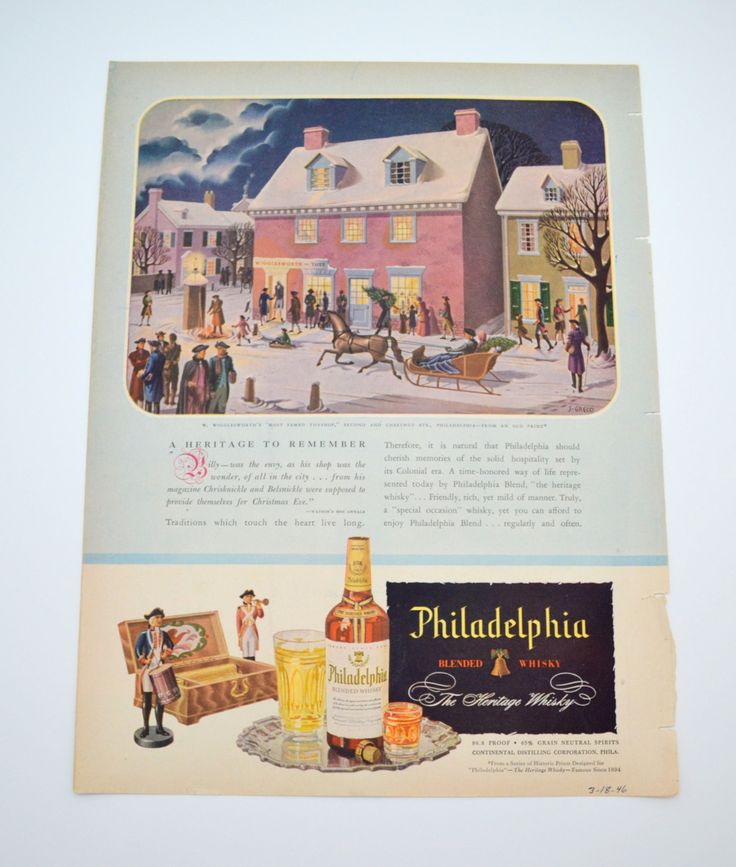 Vintage Philadelphia Whisky Ad, Wigglesworth Toy Shop, Englander Mattress Ad on Other Side, Original Advertising, 1946 by UpswingVintage on Etsy