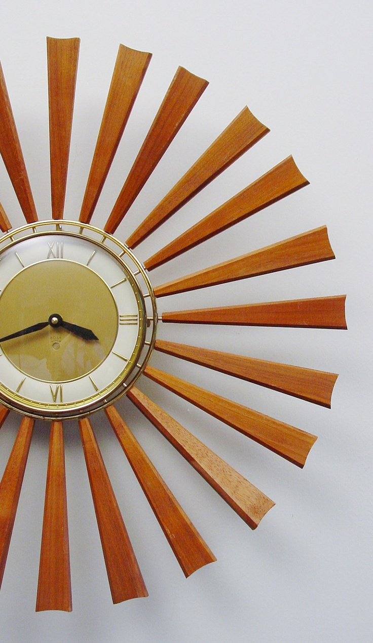Midcentury Modern Starburst Clock, 24 Teak Rays, Atomic Wall Clock,  Sunburst Design Modern Clock, Mad Men
