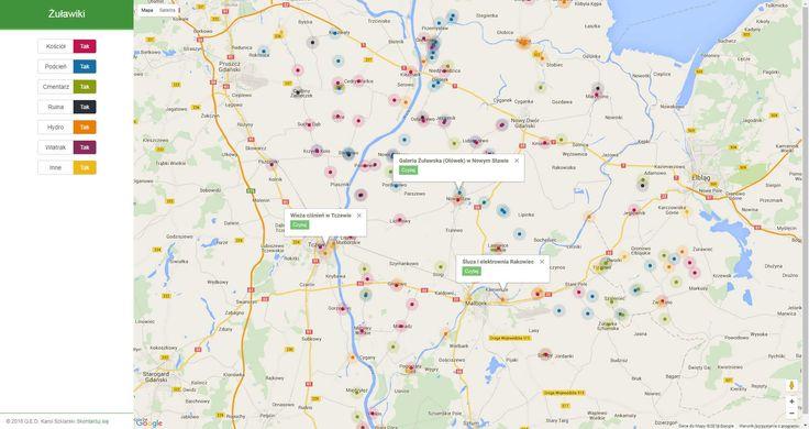 Mapa ciekawych miejsc na Żuławach z linkami do Wikipedii