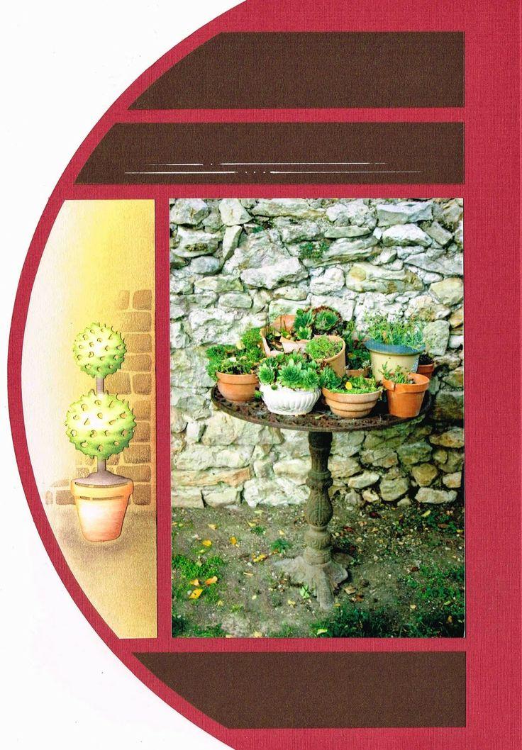 Les jardins de la Bastide mis en page avec le gabarit Lima sur 2 pages superposées : le verso de la page découpée.