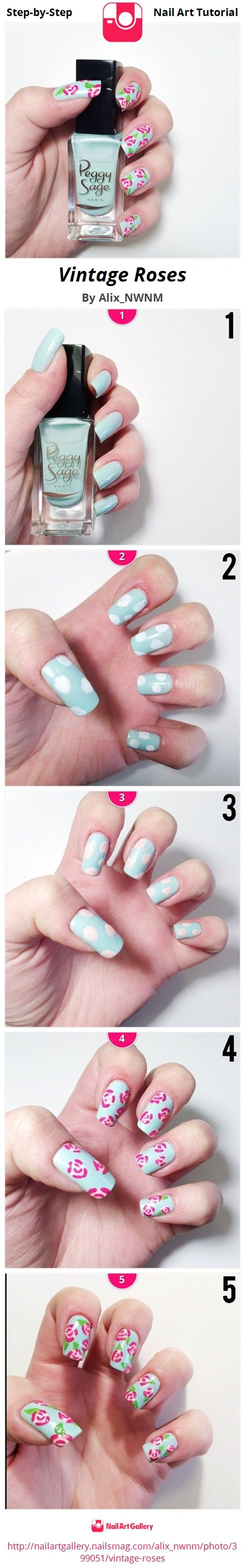 VINTAGE ROSES - Nail Art Gallery Step-by-Step Tutorial Photos