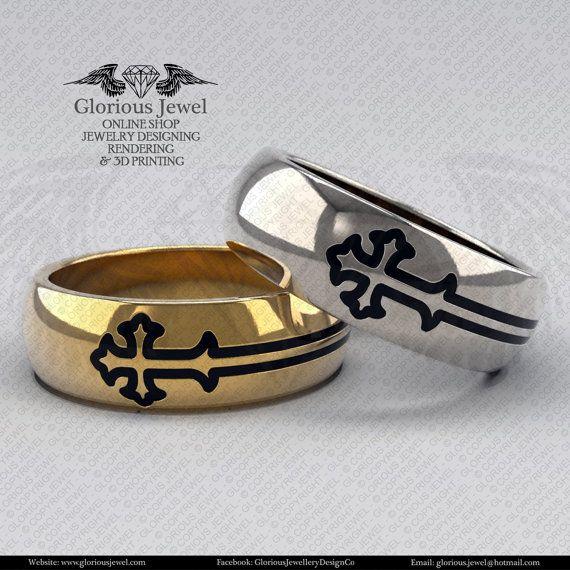 Glorious Wedding cross band with enamel / OOAK / 925 Sterling