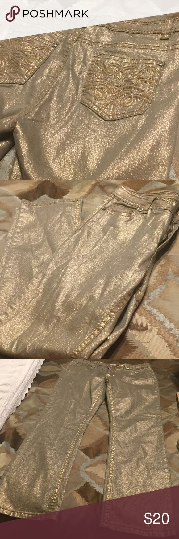 "REBA METALLIC GOLD JEANS! NWOT New without tags.  Beautiful color and intricate details on these jean pockets and throughout.  Wear these cuties with a stark white shirt and gold or white sneakers and you have a beautiful, relaxing, casual outfit.  Size 12.  Inseam 31""; Total length 42"".  NA Reba Jeans"