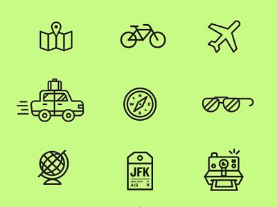 Dribbble - Travelcons by Andrew Colin Beck