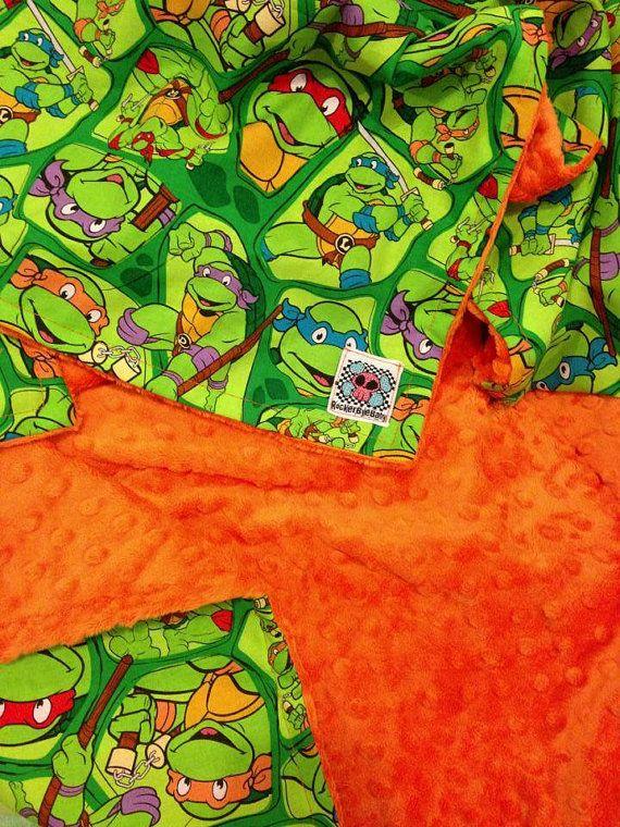 CUSTOM Ninja Turtles baby or toddler blanket green red blue