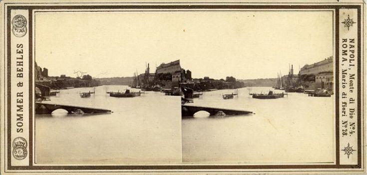 Sommer, Giorgio (1834-1914) & Behles, Edmund (1841-1924) - Roma, Ripa Grande, ponte crollato (pre 1872)