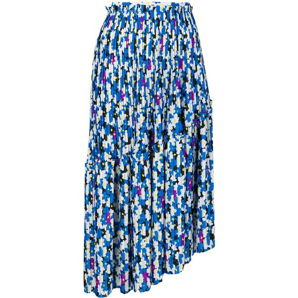 Kenzo Floral Leaf pleated skirt ($610) ❤ liked on Polyvore featuring skirts, blue, mid length skirts, floral knee length skirt, floral print skirt, pleated skirt and blue skirts