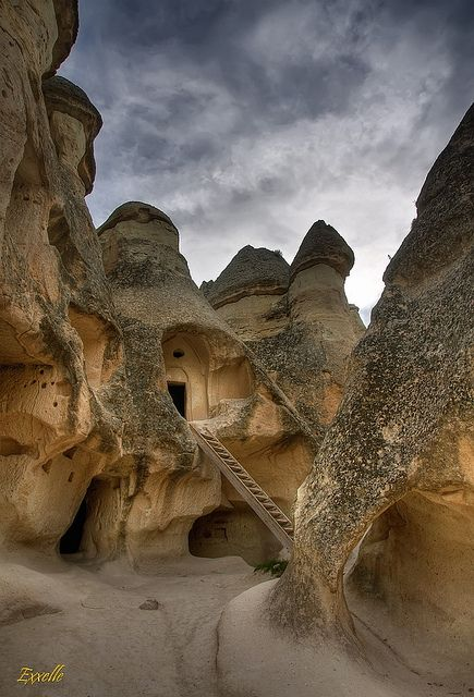 Cappadocia, Turkey . ..  I believe the people living in these at the end of the last ice age survived the monster flare that took place....12 thousand years ago. It destroyed 90% of species.