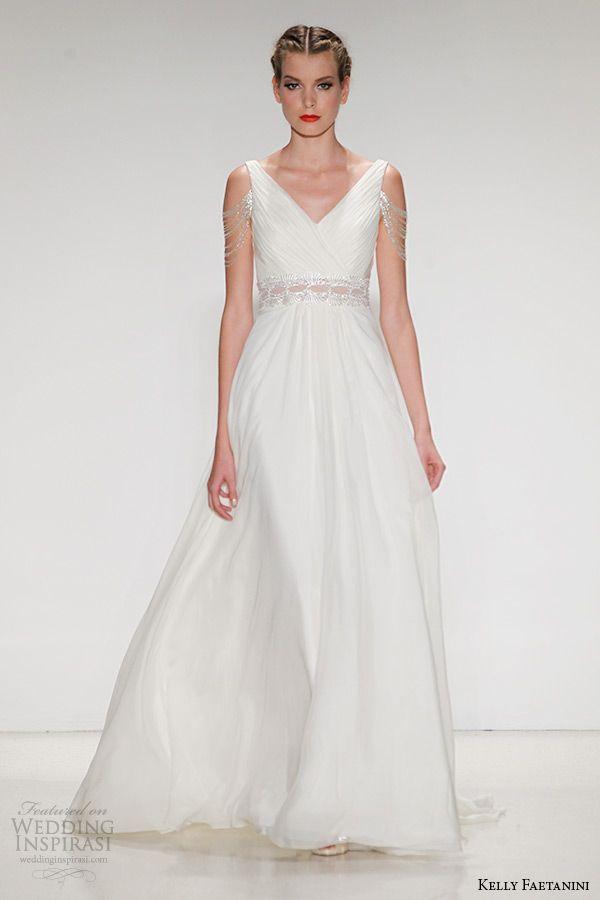 Kelly Faetanini Wedding Dress Fall 2015 Bridal Silk Chiffon A Line V Neck Gown Illusion Waistband