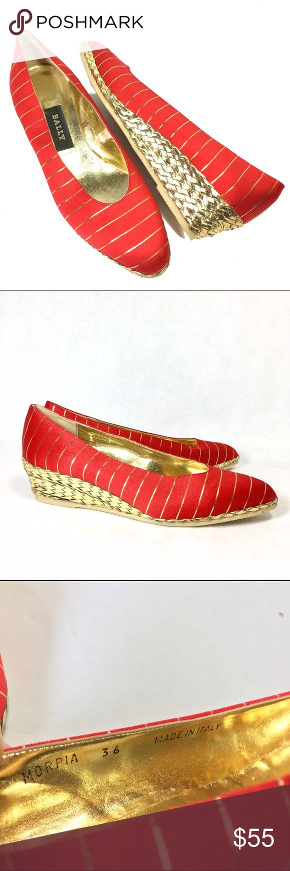 NEW Vtg BALLY Red & Gold Stripe Wedges Shoes 36 NEW Vintage BALLY Red & Gold Striped Sateen Wedges   Size 36 (US Size 5.5 or 6)   Style No. MORPIA   New Old Stock Vintage   Woven Gold Leather Covered Low Wedge Heels   Soft/Rounded Pointed Toe   Excellent/New Condition   They look very comfortable!   Guaranteed Authentic Bally of Switzerland!   Made in Italy 🇮🇹   Thanks for your interest! Bally Shoes Wedges