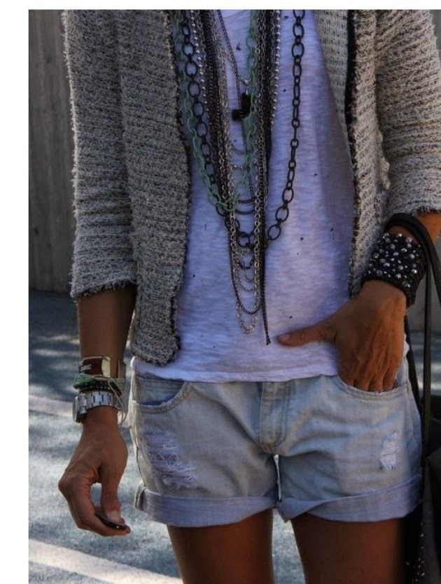 3/4 Sleeves Cardigan With Handbag and Jeans Shorts