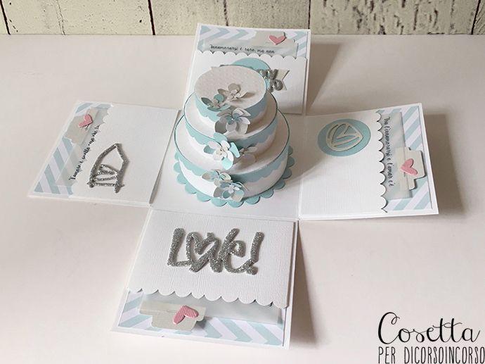 Buongiorno e ben ritrovate con un nuovo progetto per Di Corso in Corso! Oggi vi mostro una box explosion, ideale per un super compleanno o per un matrimonio come in questo caso… Una versione …