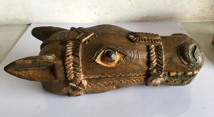 Ancient Wood Hand Craved Emboss Painted Wall Decorative  Horse Head Mask  #ArtDeco