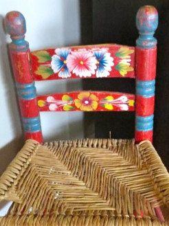 Vintage Childs Chair, Mexico, Mexican Folk Art, Childs chair, Folk Art, Furniture. $22.50, via Etsy.