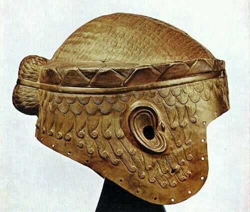 Akkadian helm.Currently mistaked by Sumerian,It shows Akkadian hairstyle