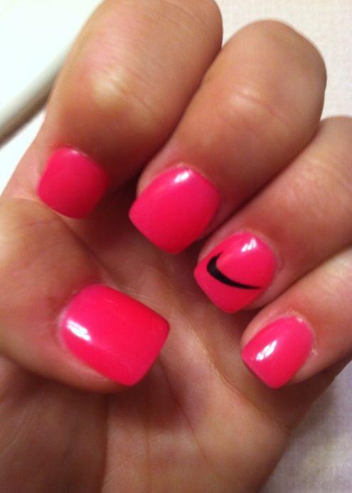 Pink Nike Nails