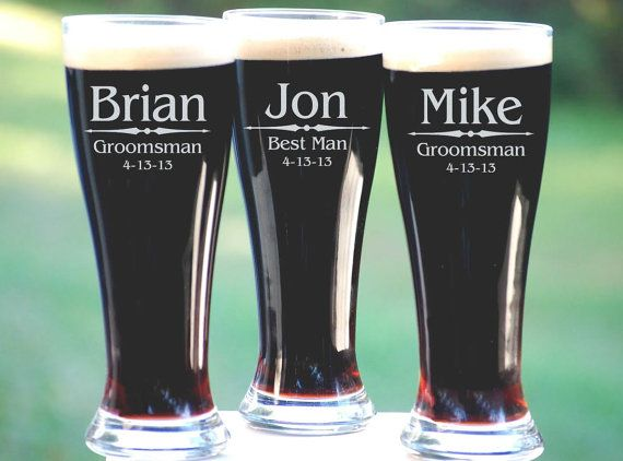 Groomsmen Gift, 6 Personalized Beer Glasses, Custom Engraved Pilsner Glass, Wedding Party Gifts, Gifts for Groomsmen, Urban…#affiliate