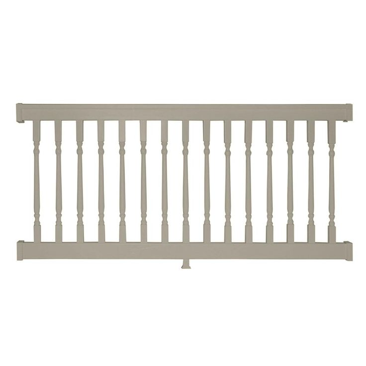 Weatherables Delray 3 5 Ft H X 8 Ft W Vinyl Khaki Railing Kit With Colonial Spindles Stair Railing Kits Vinyl Railing Stair Kits