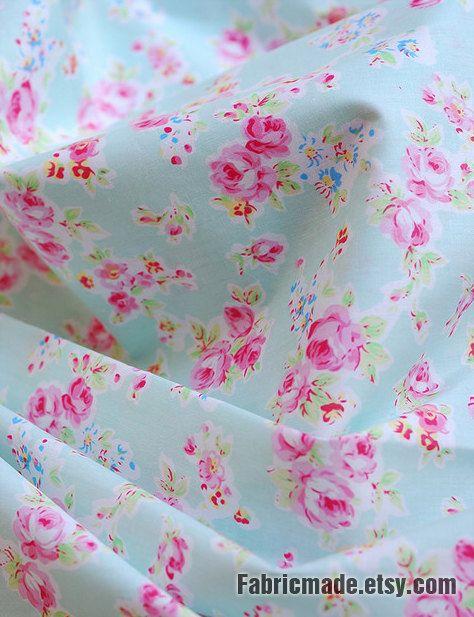Aqua Blue Fabric Pink Flower Aqua Coordinate Fabric