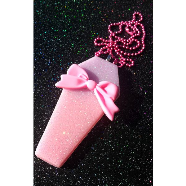 Creepy Cute Jumbo Coffin Pendant / Pretty Pink Coffin / Vampire... ($17) ❤ liked on Polyvore featuring jewelry, pendants, pastel jewelry, resin pendants, bow pendant, goth jewelry and pink pendant