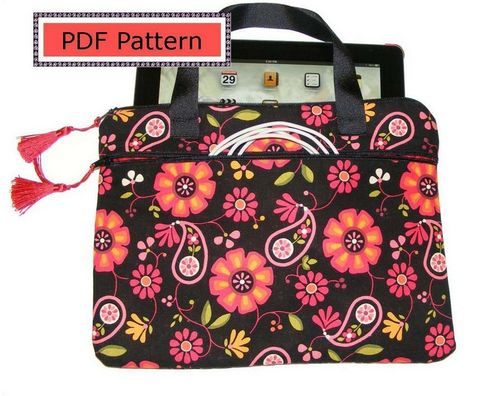 PDF pattern instructions to sew this unique, fully lined, padded cover with side zipper pocket and handles.  A beautiful yet super simple to sew bag.