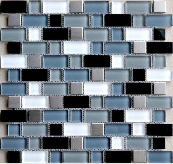 Interlock Blue Black Glass Kitchen Backsplash Tile Stainless Steel Mosaic Subway Bathroom Mirror Tiles Wall Crystal