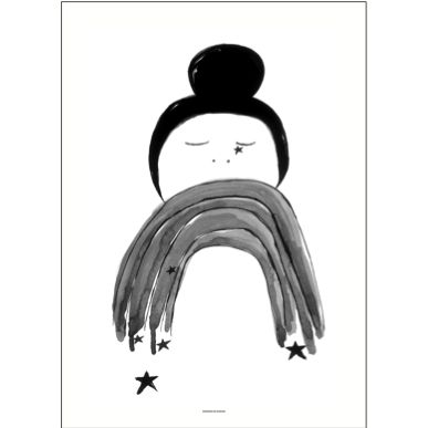 Pax and Hart Hazel Poster by Australian artist Emma Emma Labattaglia adds a whimsical monochrome touch to any room in your home.
