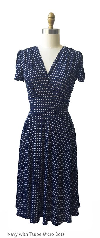 """The Megan dress, here in """"navy with taupe microdots"""", is perfect for for an hourglass body shape, triangle shape, inverted triangle shape, rectangle shape, and oval shape! Machine wash cool, hang dry, no ironing ever needed! Made with love in Brooklyn, NY."""