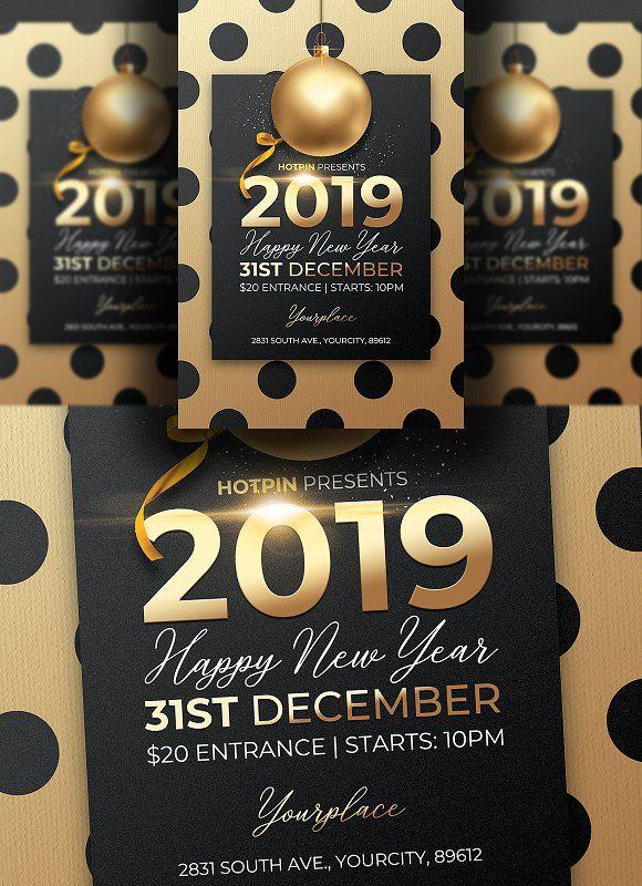 Classy New Year Invitation Flyer By Hotpin On Creativemarket