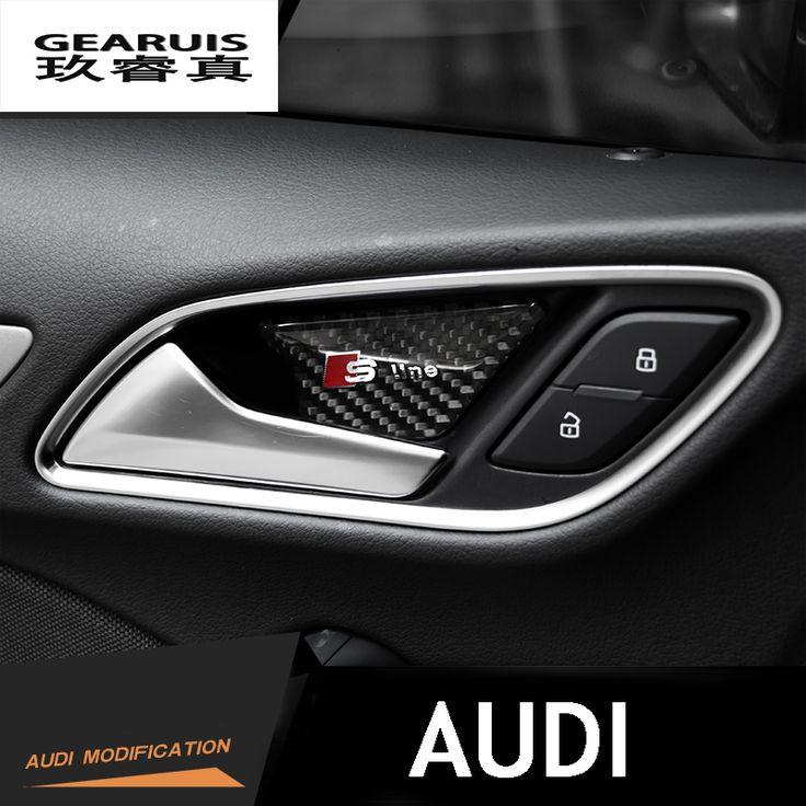 4 pcs carbon fiber interior door bowl doorknob decoration decorative accessories 3D stickers sline logo for Audi A3 A4 A6 Q3 Q5