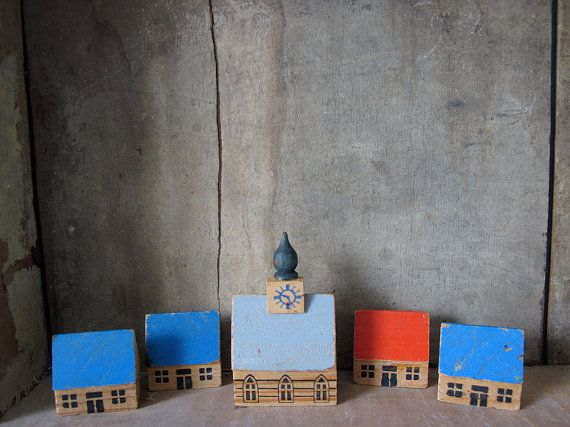 Small wooden toy houses made in GDR.