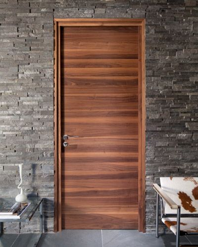Flush horizontal grain wood door creates the focus Flush interior wood doors