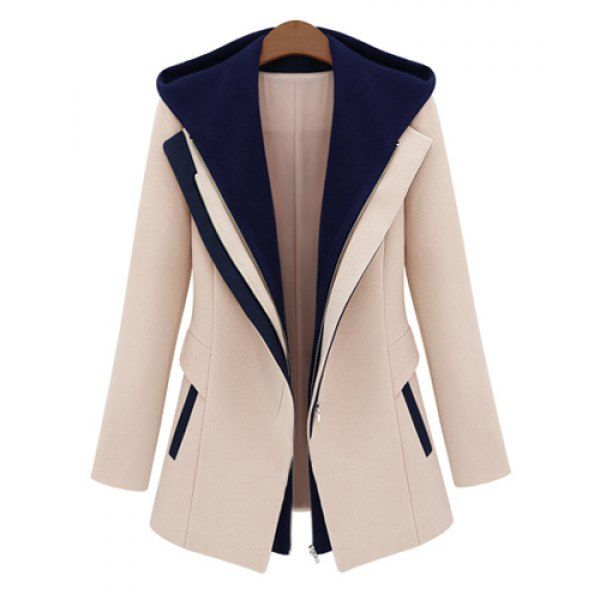 Stylish Color Block Hooded Long Sleeve Faux Twinset Design Coat For Women
