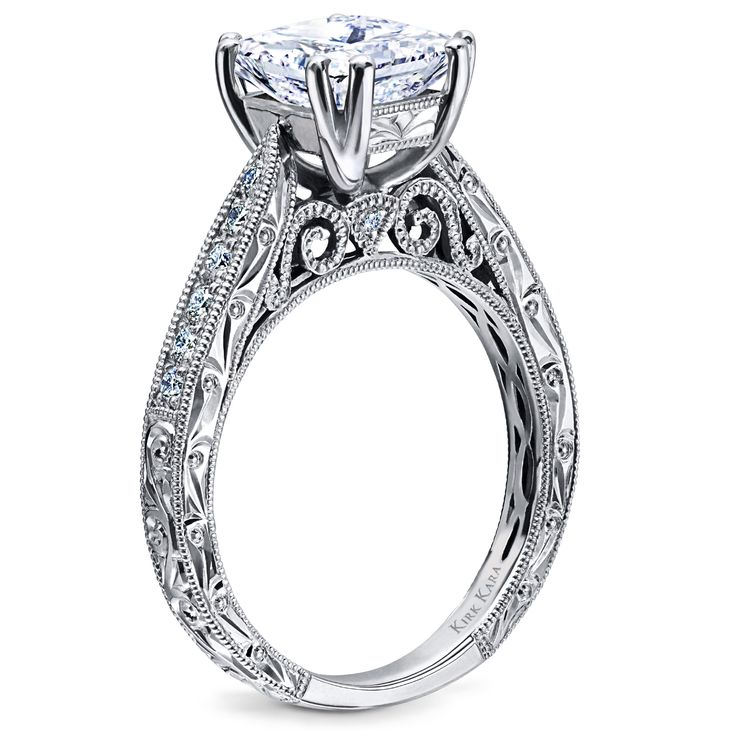 Kirk Kara hand engraved engagement ring from the Stella collection | Detailed engagement ring | Princess cut engagement ring |