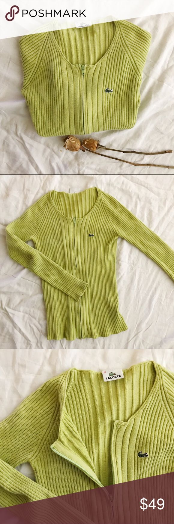 🍦Lacoste Green Knit Crewneck Cotton Sweater One of a kind cotton crew neck sweater from Lacoste. stretchy knit that is fitted when worn. Zipper in front for easy in and out. Size 38 = small, US 2-4. No trades! Authentic item purchased from the Lacoste store.   Items with 🍦 can only be bundled with other items that have 🍦 in title. Lacoste Sweaters Cardigans