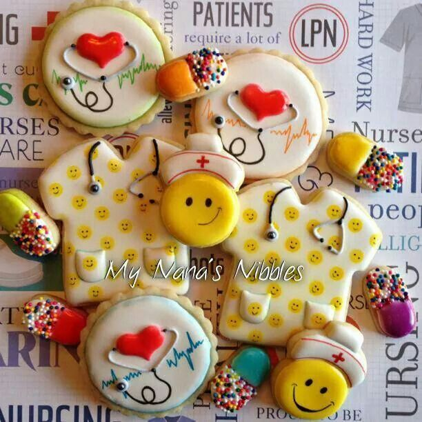 Nurse Cookies~              By | My Nana's Nibbles, #, Yellow scrubs, stethoscope, pills, red cross