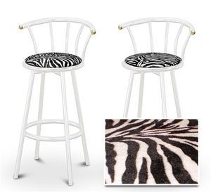 2 Zebra Animal Print Specialty / Custom White Barstools with Backres...